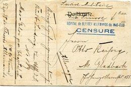 """FRANCE CARTE EN F.M. AVEC CACHET """" HOPITAL DE BLESSES ALLEMANDS DU MAS-ELOI CENSURE """"  (rare) - Marcophilie (Lettres)"""