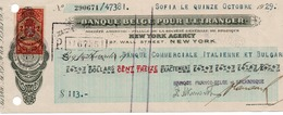 BANQUE BELGE POUR L ENTRANGER-NEW YORK AGENCY-SOFIA LE QUINZE OCTOBRE-1929 - Banca & Assicurazione
