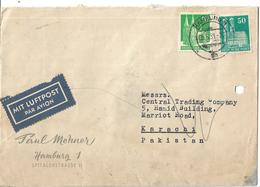 Germany Airmail 1948 Cologne Cathedral 50 Pf, 10 Pf To Pakistan. - BRD