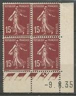 Semeuse 15 C. Brun En Bloc De 4 Coin Daté - 1906-38 Säerin, Untergrund Glatt