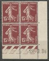 Semeuse 15 C. Brun En Bloc De 4 Coin Daté - 1906-38 Semeuse Camée