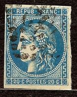 EXTRA BORDEAUX N°46 Ba 20c Bleu Foncé Oblit Losange GC Cote 70€ PAS D'AMINCI - 1870 Emission De Bordeaux