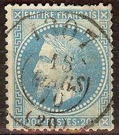 SUPERBE OBLITERATION BUREAU DE PASSE N°1307 / NAPOLEON N°29 20c Bleu BONNE COTE - 1863-1870 Napoléon III Lauré