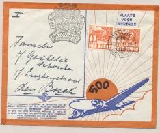 Nederlands Indië - 1937 - 2x 10 Cent Karbouwen Op 500e Vlucht Van Batavia Naar Den Bosch / Nederland - Nederlands-Indië
