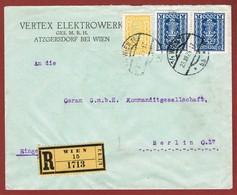 Infla Ab 1 März  1925 Reco Brief Vertex Wien - Berlin  Perfins; 3 Scan - 1918-1945 1. Republik