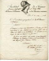 16. LAS BON-JOSEPH DACIER. SECRETAIRE PERPETUEL ACADEMIE DES INSCRIPTIONS BELLES LETTRES 1816. ADRESSEE A NICOLAS PONCE - Autogramme & Autographen