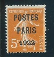 FRANCE: (*), PREO. N°30, TB - 1893-1947