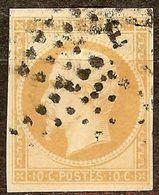 SUPERBE NAPOLEON N°13 Ba 10c Bistre-Brun Oblitéré Losange LETTRE E Cote 45 € - 1853-1860 Napoléon III