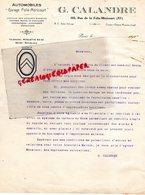 75- PARIS- LETTRE G. CALANDRE GARAGE AUTOMOBILE FOLIE MERICOURT- AGENT CITROEN- 1920 - Cars