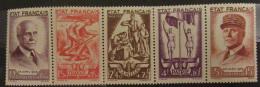 France - Bande De 5 Timbres Neufs Au Profit Du Secours National YT N°580A, Année 1943 - France