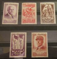 France - Série Complète De 5 Timbres Neufs Au Profit Du Secours National YT N°576 à 580, 1943 - France