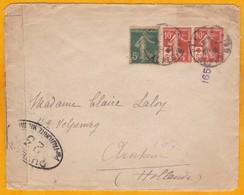 1918 -  Paire De N° 147 Surchargés +  5 C Semeuse Sur Envel. De Cannes, Alpes-Maritimes Vers Arnhem, Hollande - Censure - Red Cross