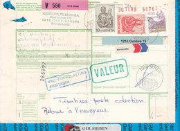 Schweiz - Auslandspaketkarte / Foreign Package Card Onex - Zoetermeer - Postwaardestukken