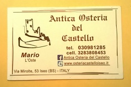 BIGLIETTO DA VISITA CARTONCINO ANTICA OSTERIA DEL CASTELLO ISEO BRESCIA LAGO D' ISEO - Visitenkarten
