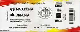 Ticket.Football.soccer.2018 UEFA Nations League 4.Group D.Macedonia Vs Armenia - Tickets D'entrée