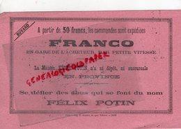 75 - PARIS- BUVARD MAISON FELIX POTIN-FRANCO EN GARE DE L' ACHETEUR  IMPRIMERIE P. MOUILLOT 13 QUAI VOLTAIRE -RARE - Food