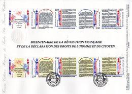 """"""" REVOLUTION FRANCAISE / DROITS DE L'HOMME """" Sur Document Philatélique Officiel De 1989 N° YT 2605A . DPO - Révolution Française"""