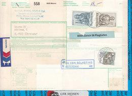 Schweiz - Auslandspaketkarte / Foreign Package Card Manno - Oosterhout - Postwaardestukken