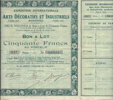 EXPOSITION INTERN-ART DECORATIFS ET INDUSTRIELS-BON DE 50 FRS - PARIS 1925 - Tourisme