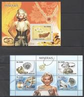 A920 2008 S.TOME E PRINCIPE NATURE MINERAIS MARILYN MONROE DIAMONDS 1KB+1BL MNH - Mineralien
