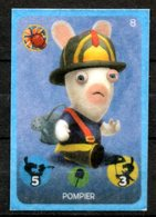 IM107 : Carrefour Panini Lapins Crétins Carte N°8 Pompier (feutrine) - Trading Cards
