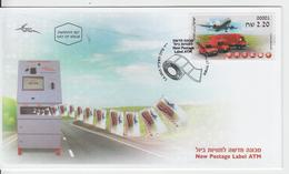 ISRAEL 2015 KLUSSENDORF ATM INBAR POST PLANE CAR TRUCK FDC - FDC