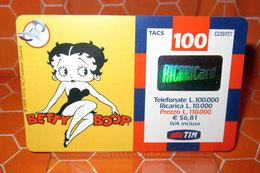 TIM £ 100.000 TIM BETTY BOOP   2002 RICARICA SCHEDA TELEFONICA GSM USED - [2] Sim Cards, Prepaid & Refills