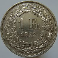 Switzerland 1 Franc 1943 XF - Silver - Suiza