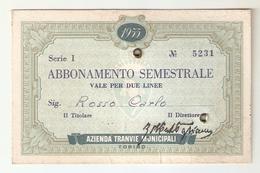 BIGLI--0003-- ABBONAMENTO SEMESTRALE VALIDO PER DUE LINEE 1955 - AZIENDA TRANVIE MUNICIPALI-TORINO- LINEEE  14-15 - Europa