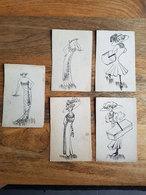 5 CP's Illustrées N&B Mode/femme/Paris/robe/chapeau/ - Moda