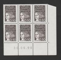 FRANCE / 1997 / Y&T N° 3086 ** : Luquet 0.10F Bistre-noir X 6 En Coin Daté 1998 06 30 ( ) - 1990-1999
