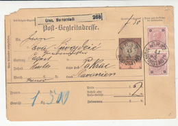Austria Post-Begleitadresse Nachname Postal Stationery 1892 Graz, Murvorstadt To Pakrac B180910 - Briefe U. Dokumente