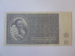 Rare! Ghetto Terezin/Theresienstadt-Czechoslovakia,10 Kronen 1943 Banknote-SERIES A002-very Good Condition - Tchécoslovaquie