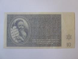 Rare! Ghetto Terezin/Theresienstadt-Czechoslovakia,10 Kronen 1943 Banknote-SERIES A002-very Good Condition - Czechoslovakia
