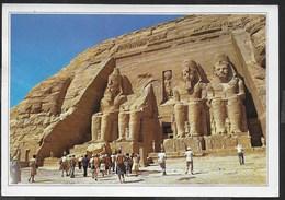 EGITTO - ABU SIMBEL - FORMATO GRANDE 17X12 - VIAGGIATA FRANCOBOLLO ASPORTATO - Abu Simbel