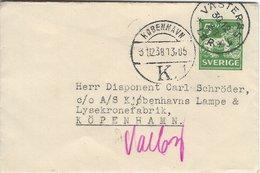 Sweden - Stationery. Sent To Denmark. Used 1938   S-4331 - Postal Stationery