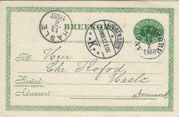 Sweden - Brefkort - Stationery.  Sent To Denmark 1900    S-4335 - Postal Stationery