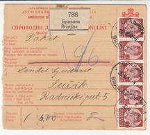 Yugoslavia Parcel Card Sprovodni List 1937 Branjina  To Sušak B180910 - 1931-1941 Kingdom Of Yugoslavia