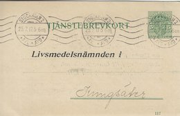 Sweden - Stationery. Tjänstebrevkort  Used 1917.    S-4336 - Postal Stationery