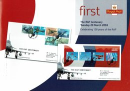 ROYAL MAIL COMMUNICATION STAMPS TIMBRES THE RAF CENTENARY AVION - Militares