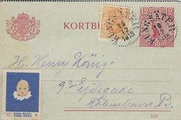 Sweden - Kortbrev Uprated Stationery.  Used 1918   Sent To Denmark   S-4337 - Postal Stationery
