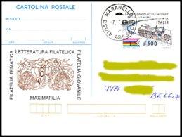 ITALIE-EP -Intero Postale 500L  Manifestazione Filatelica Nazionale,oblit.Maranello 7-7-1987, Circulé,verso Vierge. - 1946-.. République