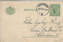 Sweden Brevkort  Stationery.  Used 1916. Sent To Denmark  Stamped In Copenhagen. S-4340 - Postal Stationery