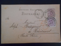 France Alsace-lorraine , Carte De Mulhausen 1877 Pour Hericourt - Alsace-Lorraine