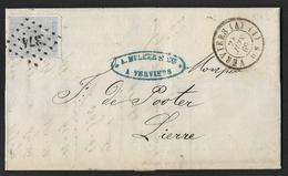 18  Sur Lettre Obl. LP 374 Verviers Càd DC  Verviers (A) (1) Le 24 Juin 1869 (Lot 787) - 1865-1866 Profil Gauche