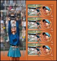 ROMANIA, 2018, SIMONA HALEP, Tennis, Sports, Sheet Of 4 Stamps, MNH (**); LPMP 2209 - 1948-.... Républiques