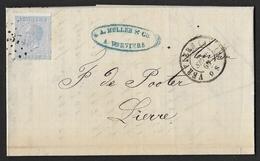 18  Sur Lettre Obl. LP 374 Verviers Càd DC  Verviers (A) (1) Le 1 Sept 1869 (Lot 874) - 1865-1866 Profil Gauche
