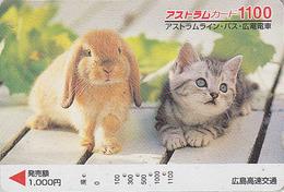Carte Prépayée Japon - ANIMAL - CHAT & LAPIN 1100 - CAT & RABBIT Japan Prepaid Card - KATZE & KANINCHEN - FR 4635 - Gatos