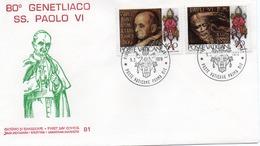 VATICANO-BUSTA FILATELICA PRIMO GIORNO-80 GENETLIACO SS PAOLO VI-1978-FDS - FDC