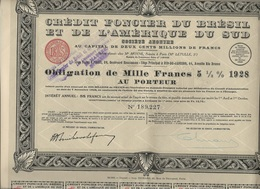 CREDIT FONCIER DU BRESIL ET DE L'AMERIQUE DU SUD -OBLIGATION DE 1000 FRS 5 1/2 % -1928 - Banque & Assurance